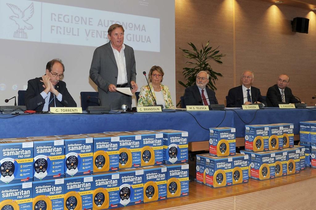 Udine 4 Luglio 2016. Coni FVG. Consegna defibrillatori alle societa' sportive regionali. © Petrussi Foto Press