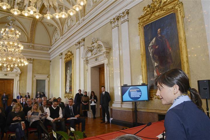 Debora Serracchiani (Presidente Regione Friuli Venezia Giulia) durante la conferenza stampa di fine anno - Trieste 23/12/2016